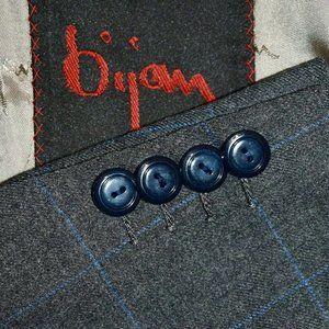 $10k 42R BIJAN by ISAIA Gray Blue Tweedy SUIT